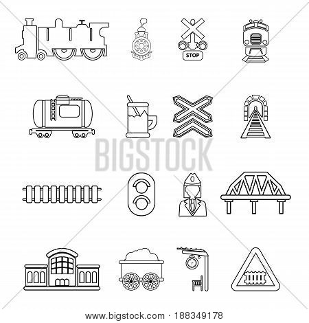 Train railroad icons set. Outline illustration of 16 train railroad vector icons for web