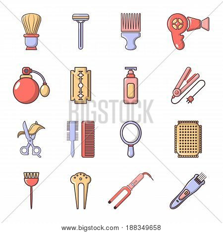 Hairdresser icons set. Cartoon illustration of 16 hairdresser vector icons for web