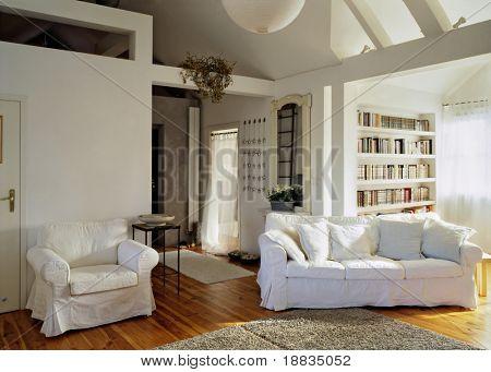 sunny living room in the loft