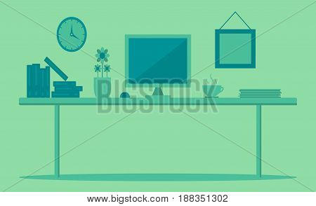 Modern Desk with computer set documents and stationery is Workplace for graphic designer and photographer use for web template banner and presentations , flat computer icon set vector design