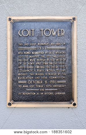 San Francisco, California - February 14, 2010: Sign for Coit Tower also known as the Lillian Coit Memorial Tower is a tower in the Telegraph Hill neighborhood of San Francisco California.