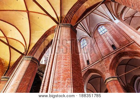 Architecture interior of ancient gothic St. George Cathedral Church in Wismar, Mecklenburg region, Germany