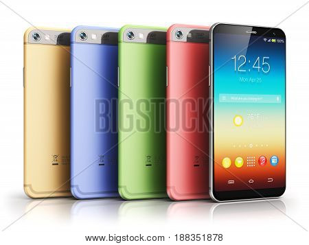 3D render illustration of the group of modern metal black glossy touchscreen smartphones with colorful application interface with color icons and buttons isolated on white background with reflection effect
