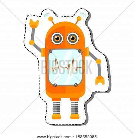 Orange Cheerful Cartoon Robot Character With Two Antennas And Plot. Isolated vector robot sticker.