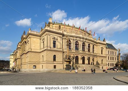 Prague, Czech Republic - March 15, 2017: Exterior view of the Rudolfinum with people in front