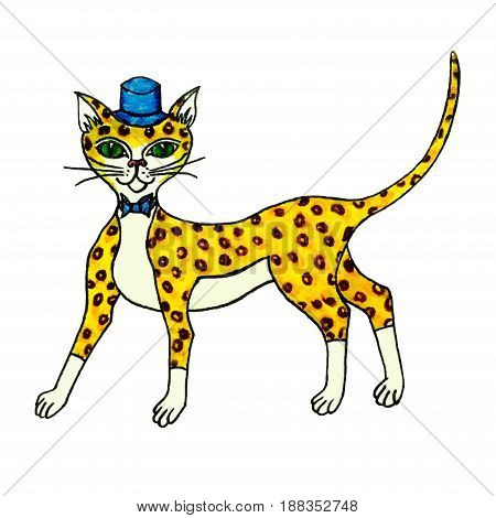 Cartoon cheetah in cylinder hat and bow tie