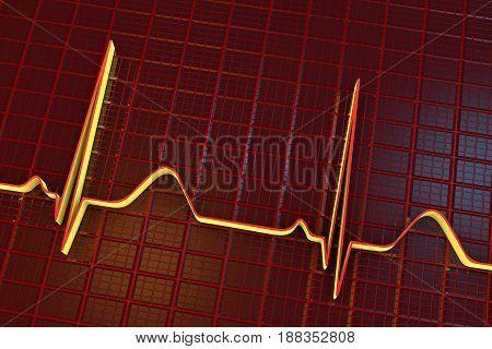 Electrocardiogram, ECG medical background, scienctific background 3D illustration