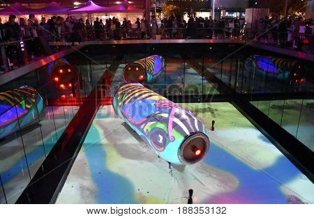 Sydney Australia - May 26 2017. Submerged magic of a steampunk waterworld at the reflection pool on The Concourse in Chatswood. Vivid Sydney is a free annual event of light music and ideas.