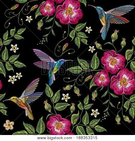Embroidery humming bird and wild roses dogrose flowers vector. Classic style embroidery beautiful fashion template for clothes t-shirt design vector