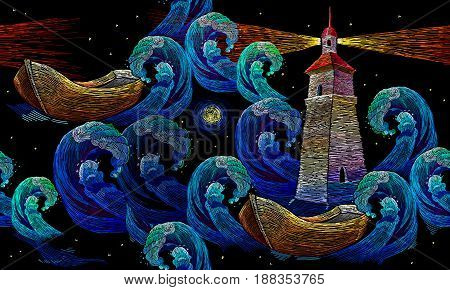Embroidery lighthouse boat sea waves seamless pattern. Classical embroidery impressionism style lighthouse and storm in ocean seamless background. Template for clothes textiles t-shirt design