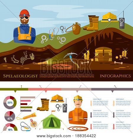 Professional cavers infographic industrial climbing cave exploration elements of diger cave explorer. Studying of underground tunnels and mines. Diggers infographic concept