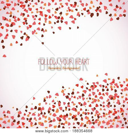 Text frame made from tiny hearts. Valentine's day postcard. Copy space. Frame for text. Romantic flyer with hearts. Lovely concept. Scatter. Warm colors.