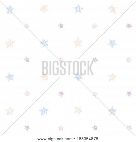 Small scratched stars. Seamless pattern. Plain abstract texture. Pale colored grunge background. For For wallpaper, web page or printing on fabric. White background.