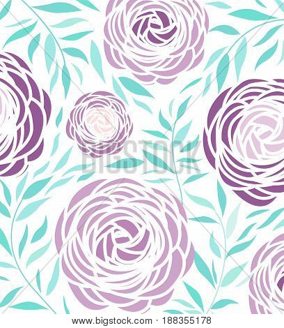 Vector illustration of ranunculus flower. Background with purple flowers