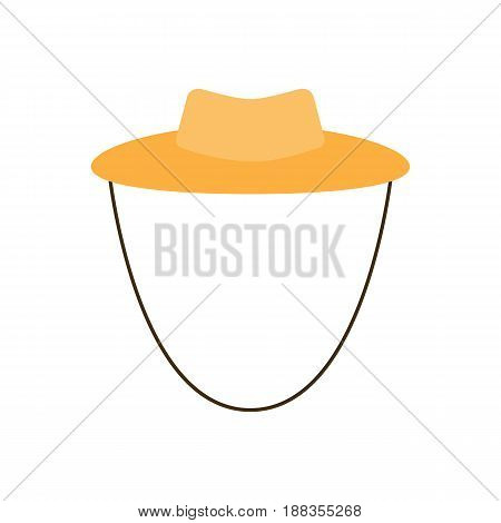 Garden or cowboy hat, vector illustration of a Flat Design style isolated on a white background