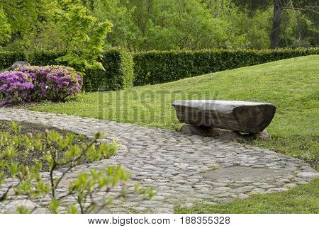 bench from a tree trunk in the meadow hill grass a Bush with pink flowers green bushes driveway cobblestone Park