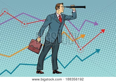 Businessman looking through a telescope. Leader in business. Future concept. Pop art retro vector illustration