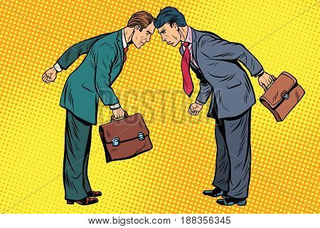 Business competition, two businessman in conflict. Pop art retro vector illustration