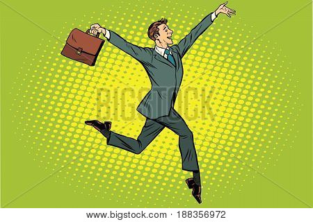Elegant funny businessman with briefcase running on tiptoe. Pop art retro vector illustration