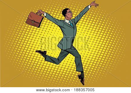 Elegant funny African businessman with briefcase running on tiptoe. Pop art retro vector illustration
