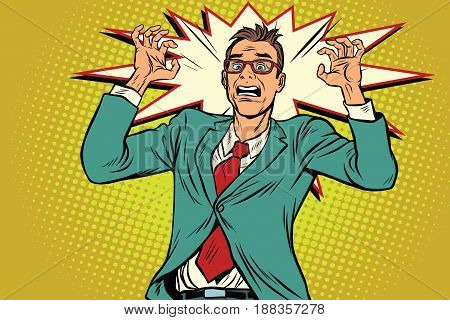 Businessman in panic, stress at work. Pop art retro vector illustration