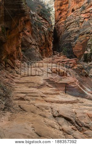Trail Leading Through Red Rocks Of Echo Canyon