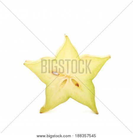 Single cross-section slice of carambola starfruit fruit isolated over the white background