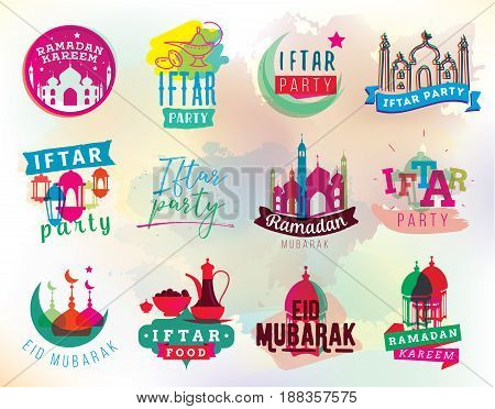 Ramadan kareem. Iftar party. Eid mubarak. Vector typography, text design. Labels with lantern, moon and mosque for greeting cards, print and web.