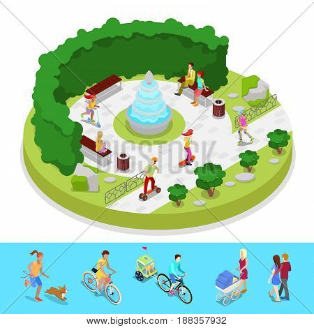 Isometric City Park Composition with Active People and Fountain. Outdoor Activity. Vector flat 3d illustration