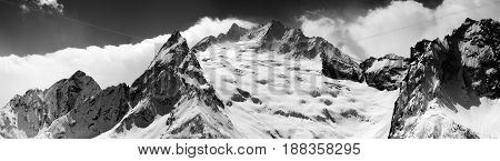 Black And White Panorama Of Snow Maintain At Winter