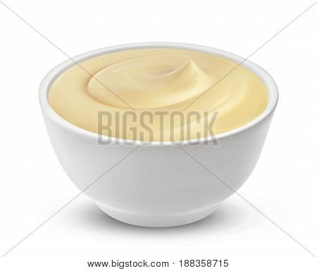Mayonnaise sauce in bowl isolated on white background with clipping path. One of the collection of various sauces