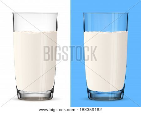 poster of Glass of milk isolated on white background. Cow milk in glass cup close up. Best vector illustration for milk food service dairy beverages gastronomy health food etc