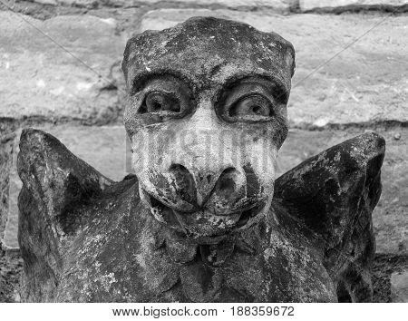 medieval gargoyle grotesque face on stone church wall