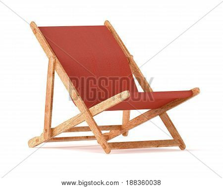 Wooden chaise lounges isolated on white background. 3d rendering