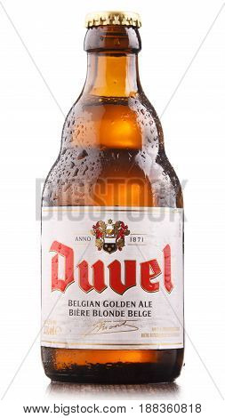 POZNAN POLAND - MAY 17 2017: Duvel is a flagship beer of Duvel Moortgat Brewery Flemish brewery founded in 1871 in Belgium.
