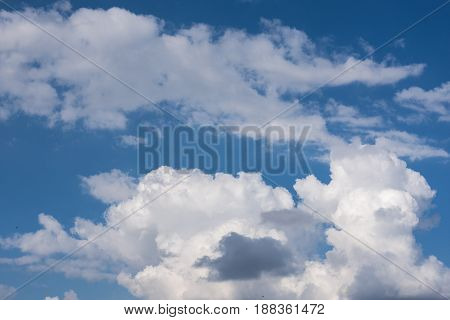 Abstract Clouds Formations With Shapes On The Blue Sky