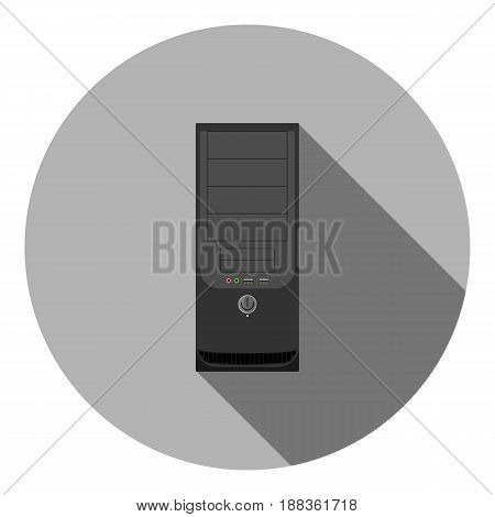 Vector image of a computer system unit on a round background