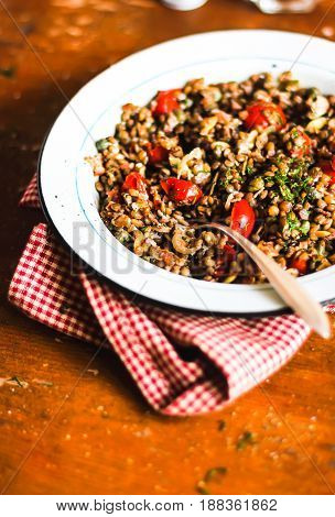 Homemade stew or ragout with green lentil, mushroom, cherry tomatoes, capers and dill in a plate on a wooden table, selective focus