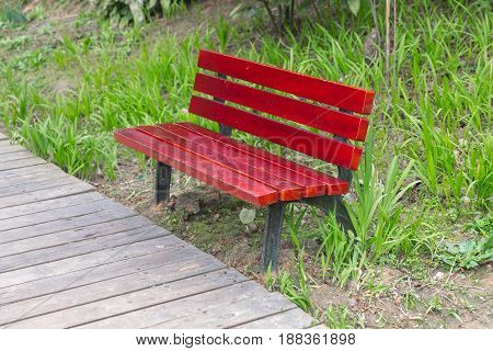 Comfortable seats made out of wood close-up