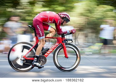 Monza Italy - May 28 2017. Cyclists to the final stage of the