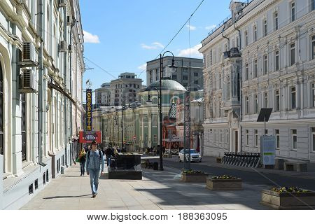 Moscow, Russia - may 06.2017. General view of the street Bolshaya Dmitrovka