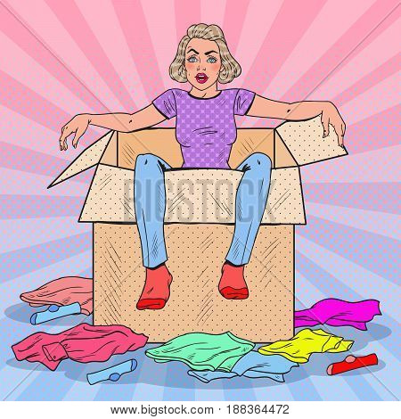 Pop Art Tired Woman in the Box with Different Clothes. Moving to new House. Vector illustration