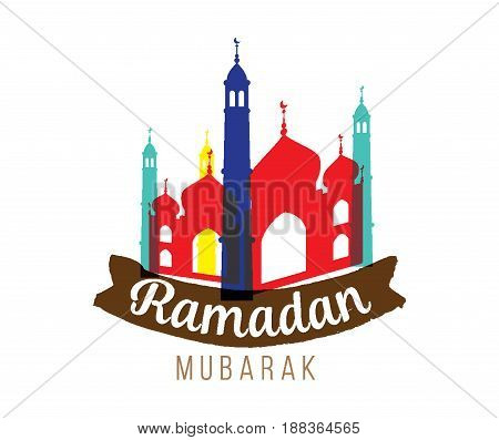 Ramadan mubarak. Vector typography, text design. Background for greeting cards, print and web.