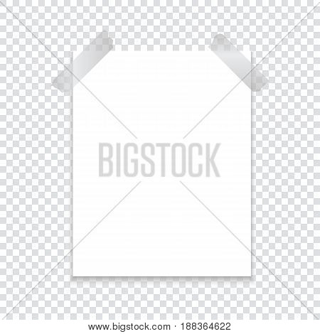 A sheet of paper attached with an adhesive tape with a shadow on a transparent background. Template for your project. Vector illustration.