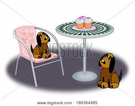 Two dogs sitting and looking at three cupcakes standing on a round table.