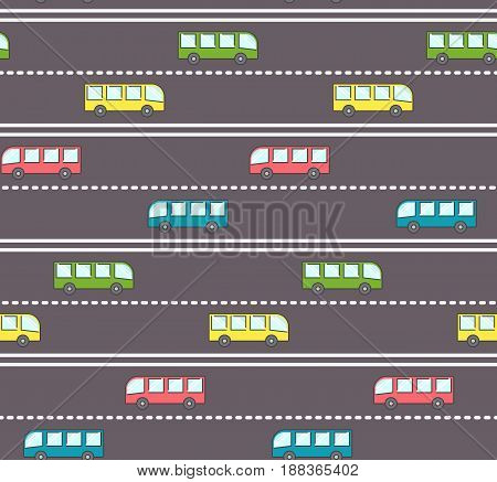 Cute bus on the road pattern, kids pattern with buses on the road with straight and dashed stripe