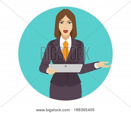 Businesswoman holding a digital tablet PC and howing something beside of her. Portrait of businesswoman in a flat style. Vector illustration.