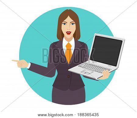 Businesswoman holding a laptop notebook and pointing something beside of her. Portrait of businesswoman in a flat style. Vector illustration.