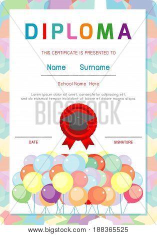 Certificates kindergarten and elementary, Preschool Kids Diploma certificate pattern design template, Diploma template for kindergarten students, Certificate of kids diploma, vector illustration