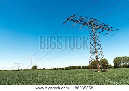 Transmission tower with power lines seen in Germany